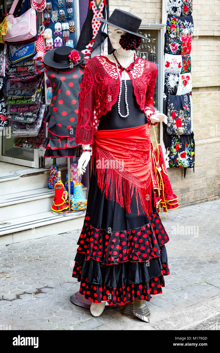 Mannequin dressed as flamenco dancer, Seville, Spain - Stock Image