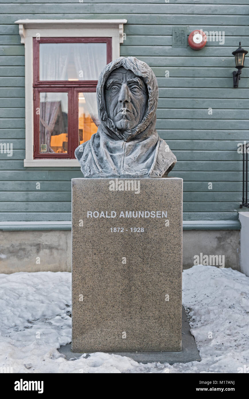 Polar explorer Roald Amundsen statue in front of the museum in Tromso, Norway - Stock Image