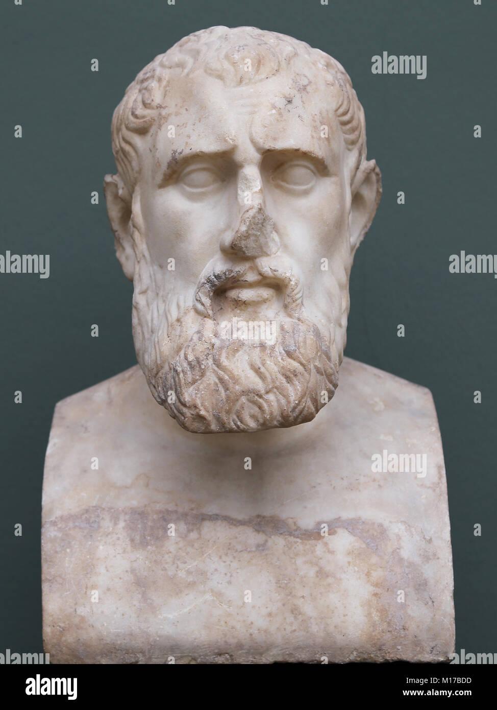 The Stoic Philosopher Zeno of Citium  (334-262 BC.) Marble. Roman copy of a greek original. NY Carlsberg Glyptotek. - Stock Image