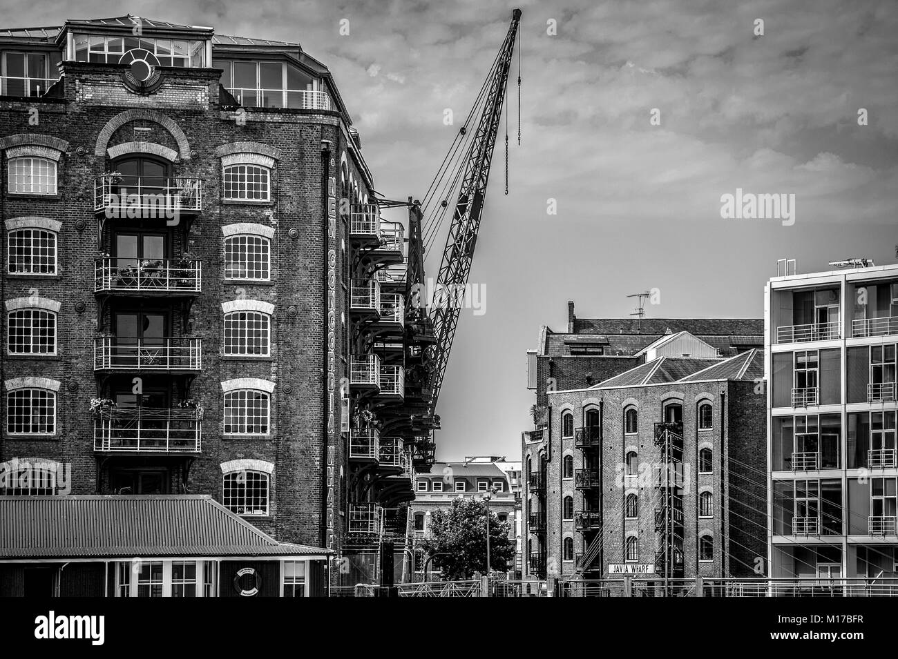 Restored & converted warehousing to residential apartments, Docklands London - Stock Image