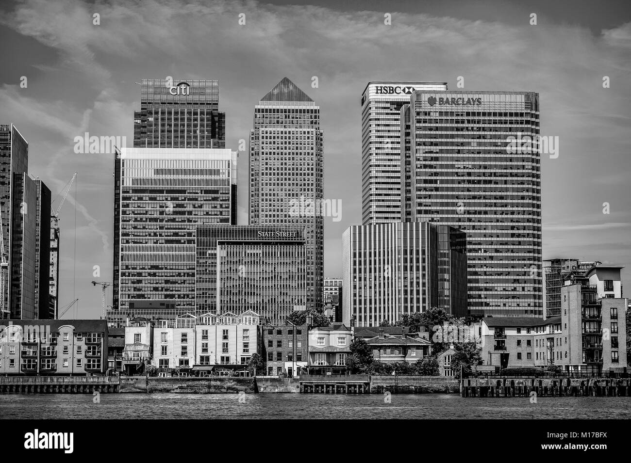 Financial Centre of Canary Wharf viewed from the River Thames - Stock Image