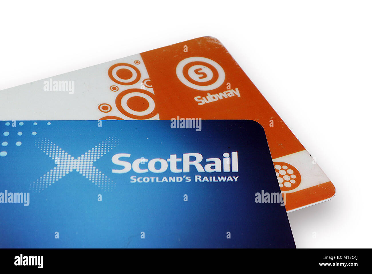 Close-up of ScotRail and Glasgow Subway smartcards - Stock Image