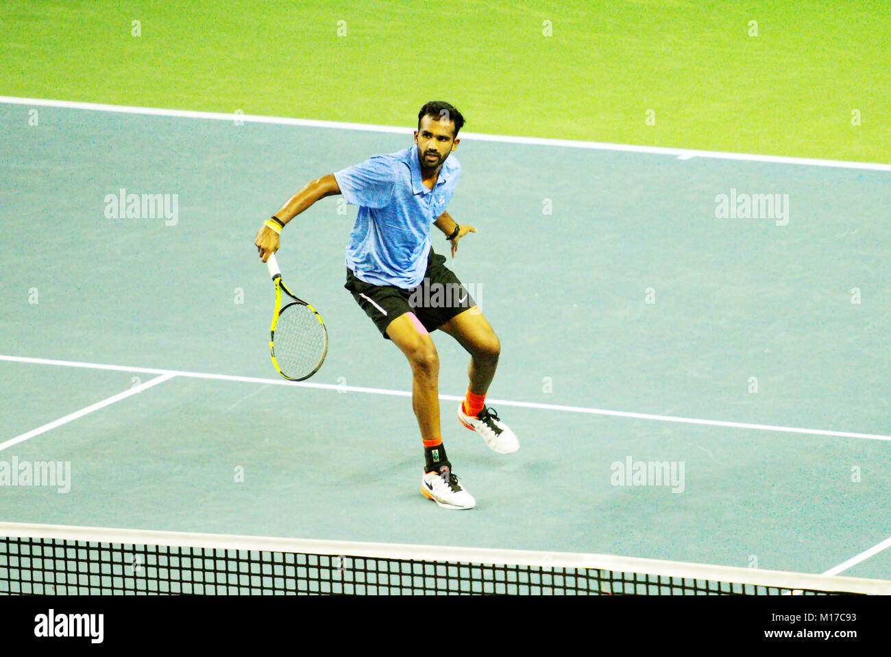 Pune, India. 2nd January 2018. Arjun Kadhe of India, in action in the first round of the Tata Open Maharashtra Tennis - Stock Image
