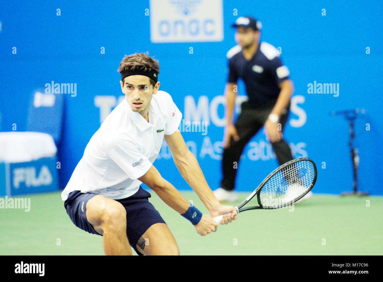 Pune, India. 4th January 2018. Pierre-Hugues Herbert of France, in action in a quarter-final match of Tata Open - Stock Image