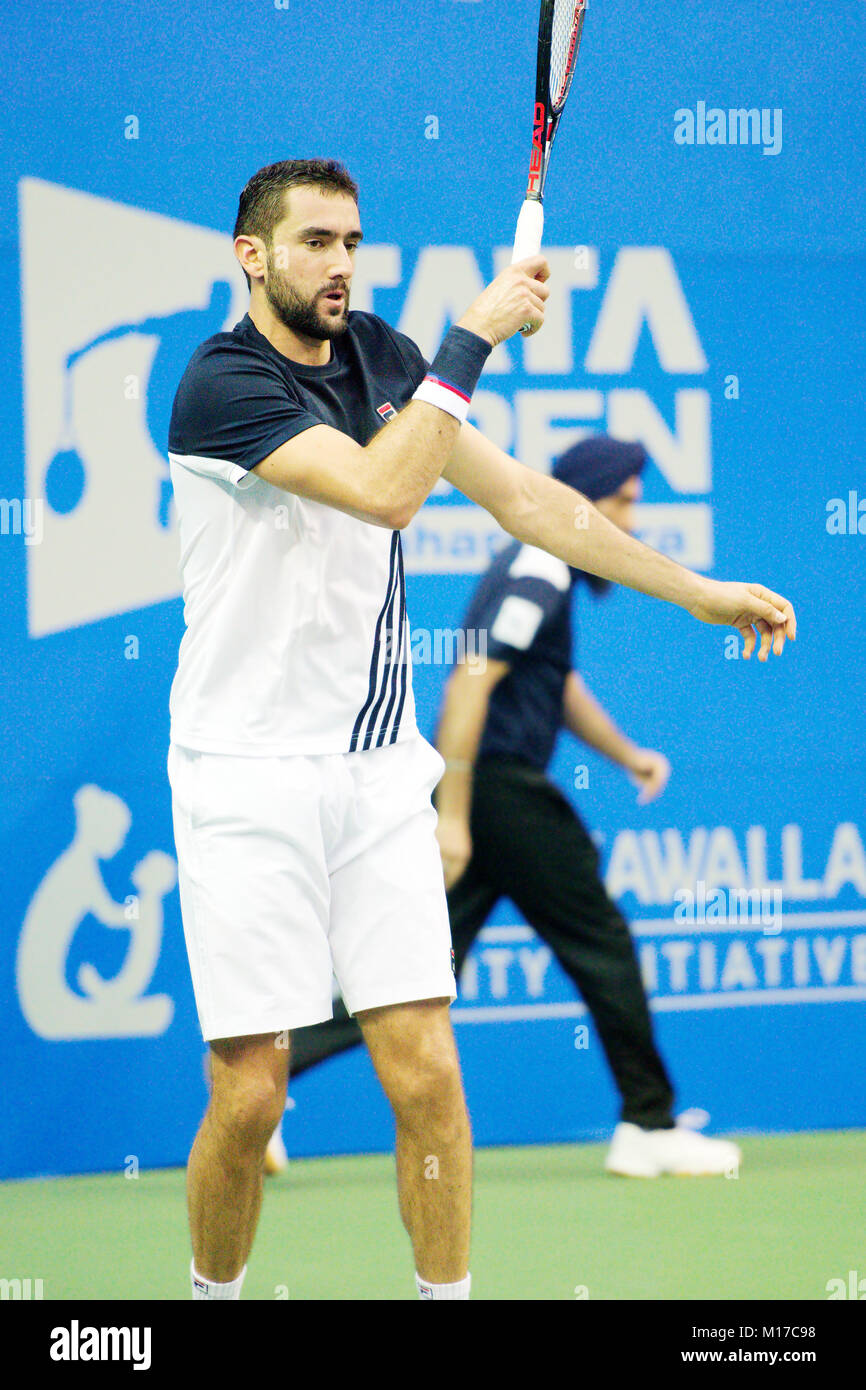 Pune, India. 4th January 2018. Marin Cilic of Croatia, in action in a quarter-final match of the Tata Open Maharashtra - Stock Image