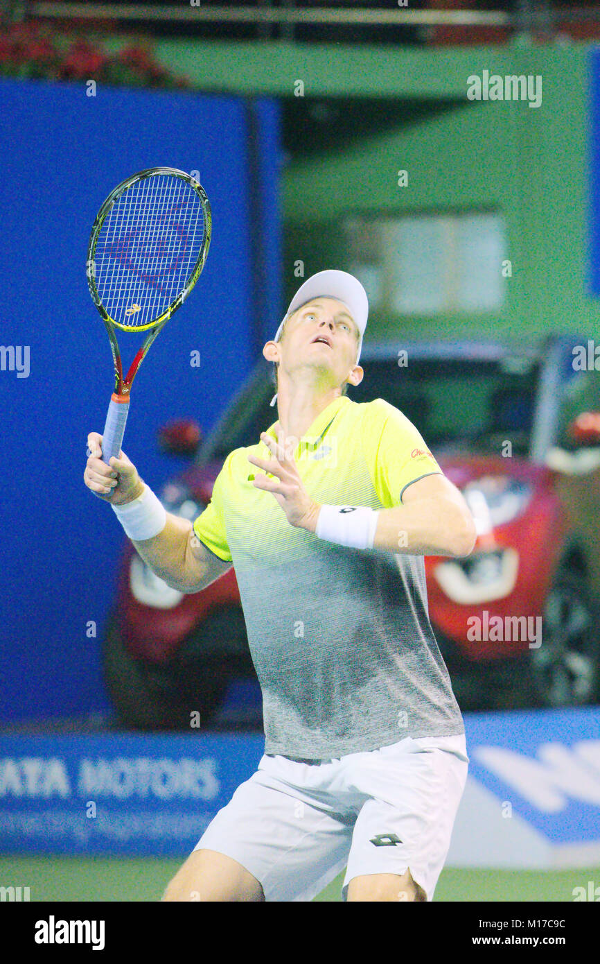 Pune, India. 4th January 2018. Kevin Anderson of South Africa, in action in a quarter-final match of Tata Open Maharashtra - Stock Image