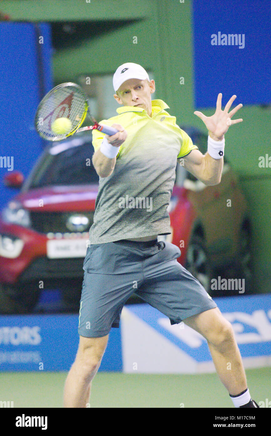 Pune, India. 5th January 2018. Kevin Anderson of South Africa, in action in a semi-final match at the Tata Open - Stock Image