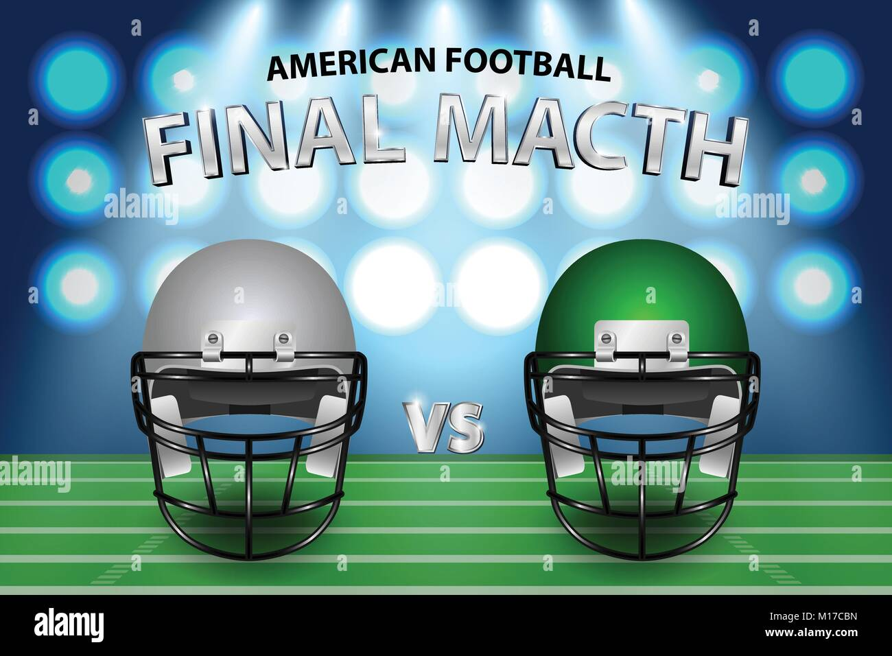 American football final match concept. Silver and green Helmets on field with spotlight background. Vector Illustration. - Stock Vector