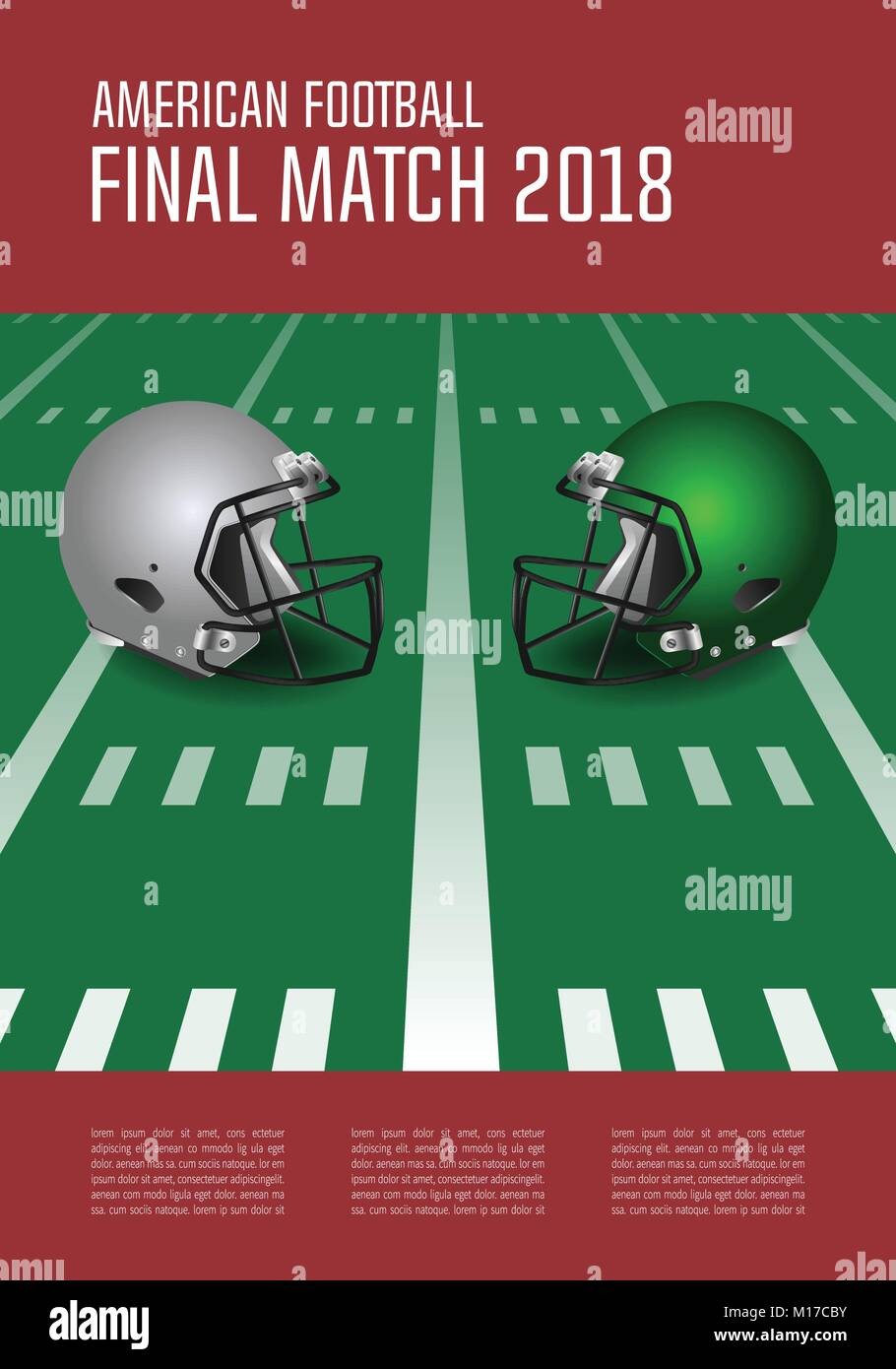 American football final match poster concept. Silver, green Helmets and football on field background. Vector Illustration. - Stock Vector