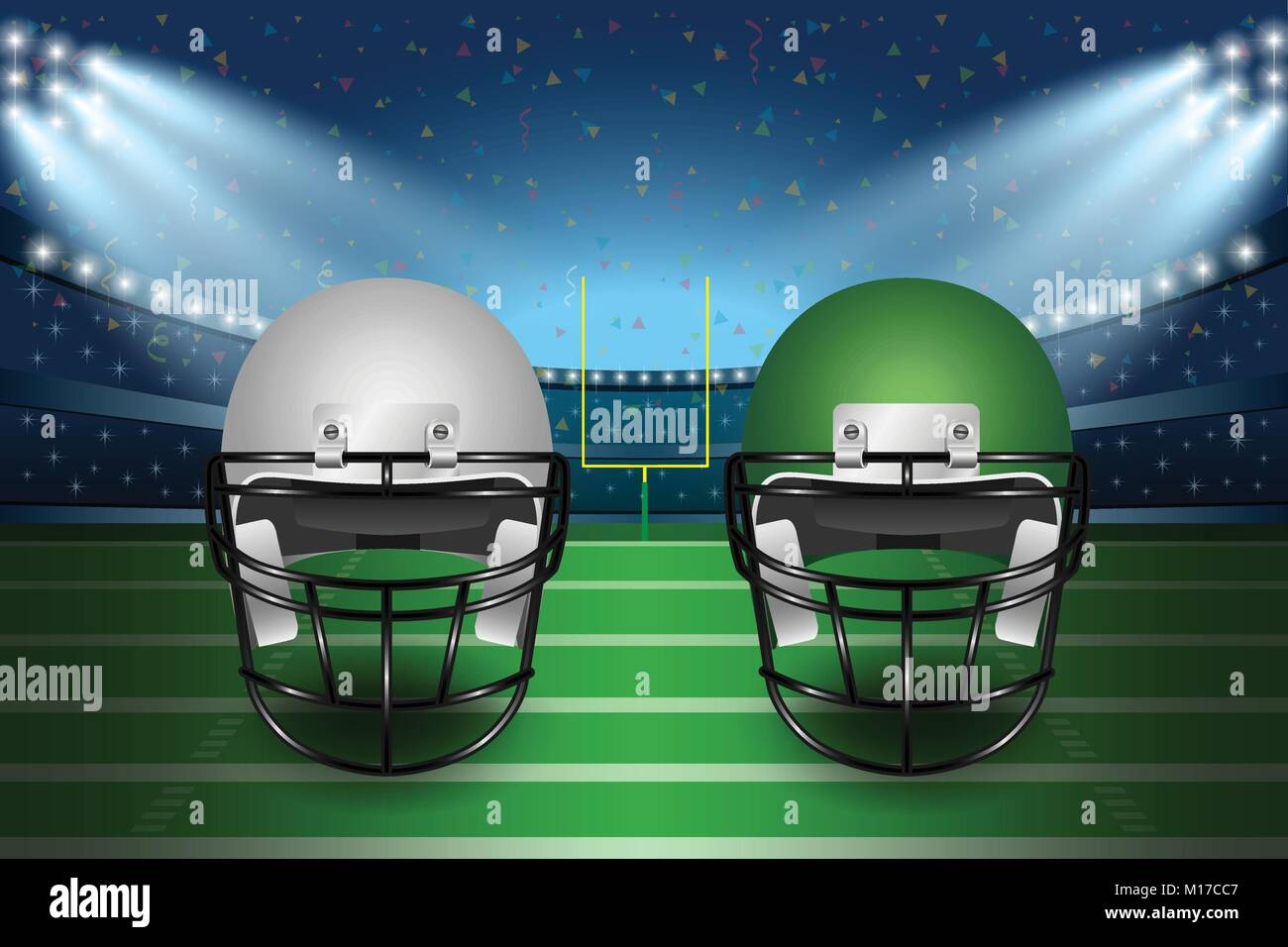 American football final match concept. Silver and green Helmets on field of stadium with spotlight background. Vector - Stock Vector