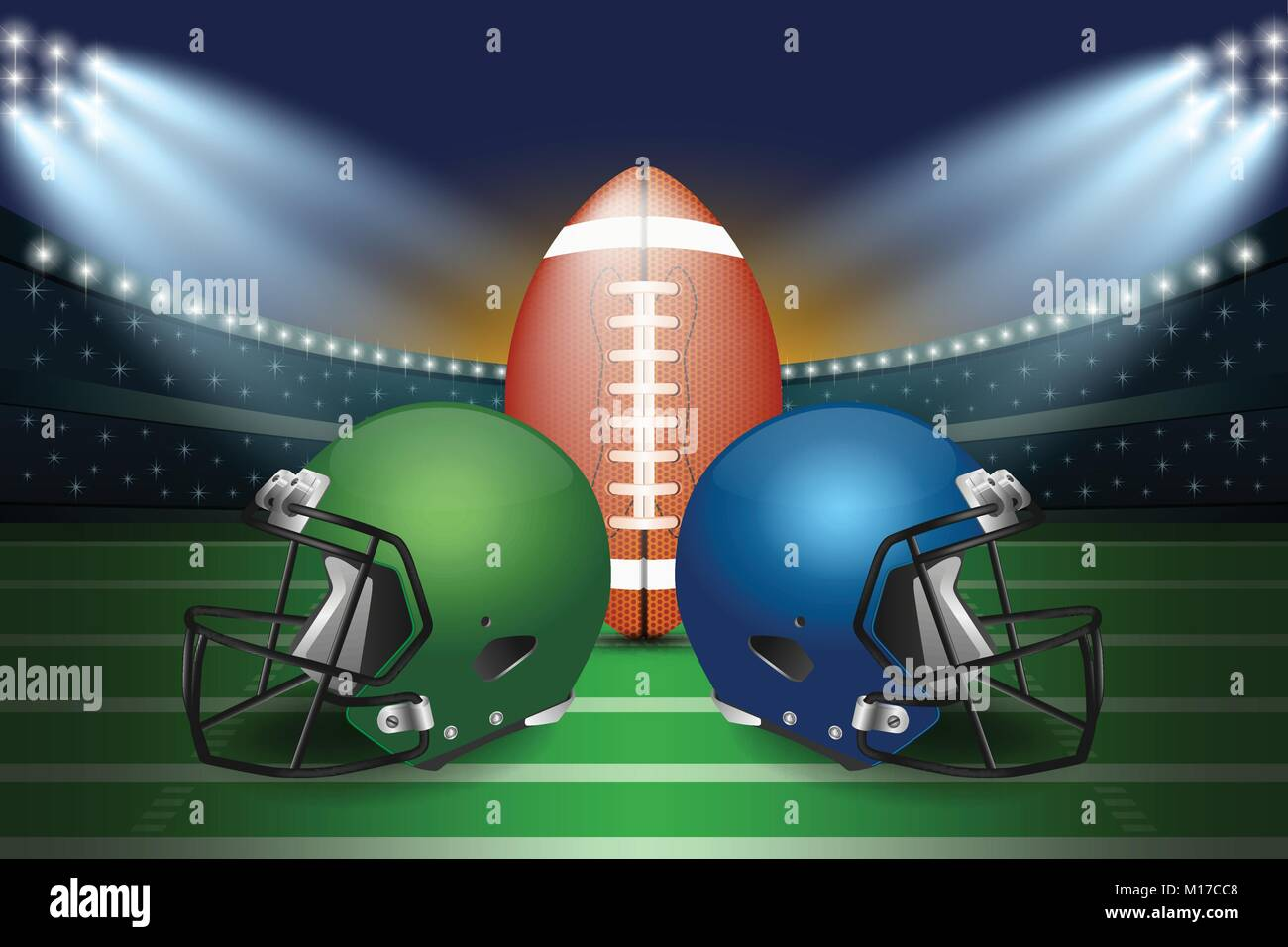 American football final match concept. Silver and green Helmets and football on field of stadium with spotlight - Stock Vector