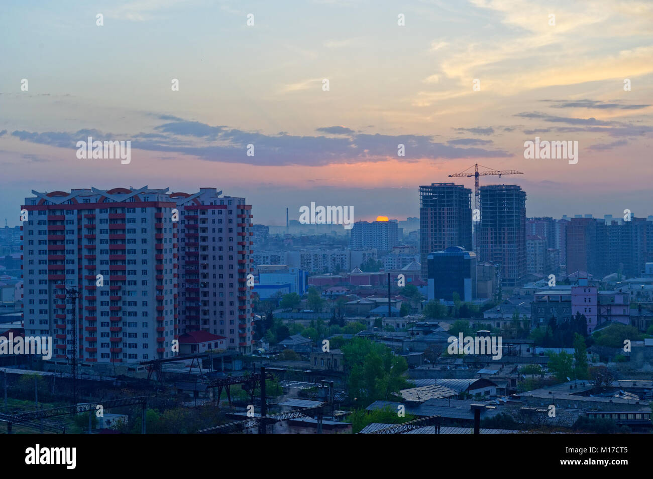 Sunrise in Baku, Azerbaijan showing buildings under construction  (2010) - Stock Image