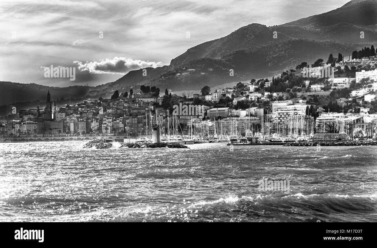 Menton, France in black and white - Stock Image