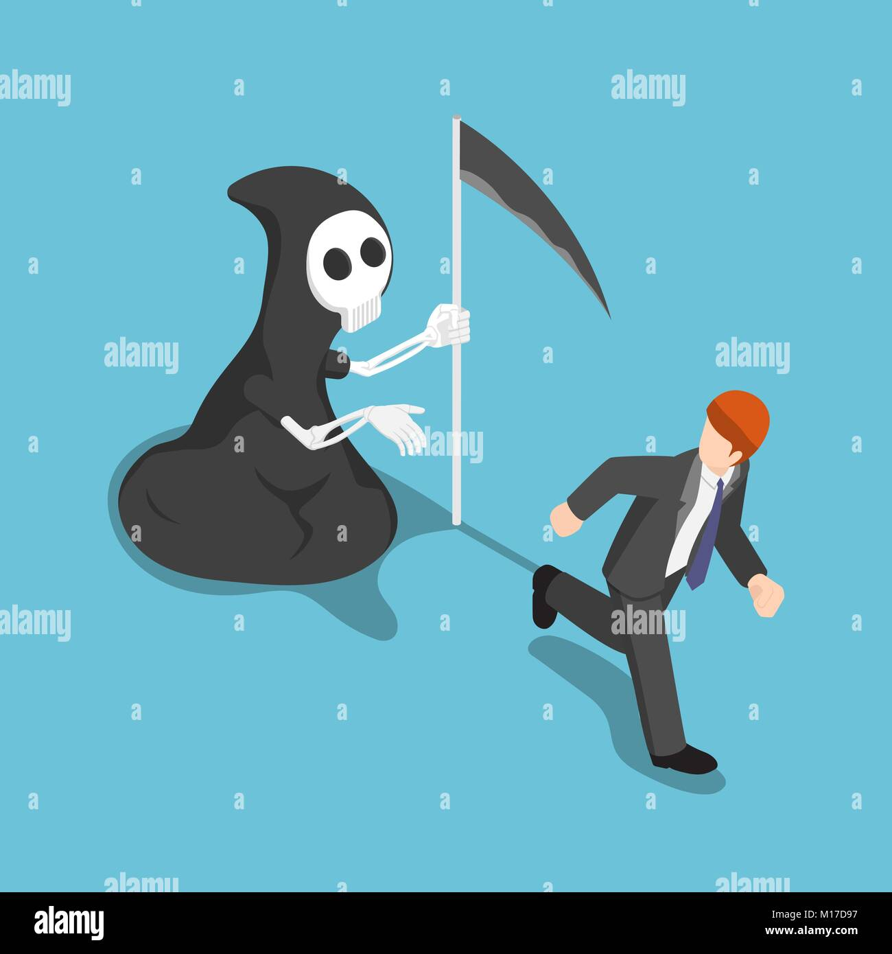 Flat 3d isometric businessman running away from angel of death. Business deadline concept. Stock Vector