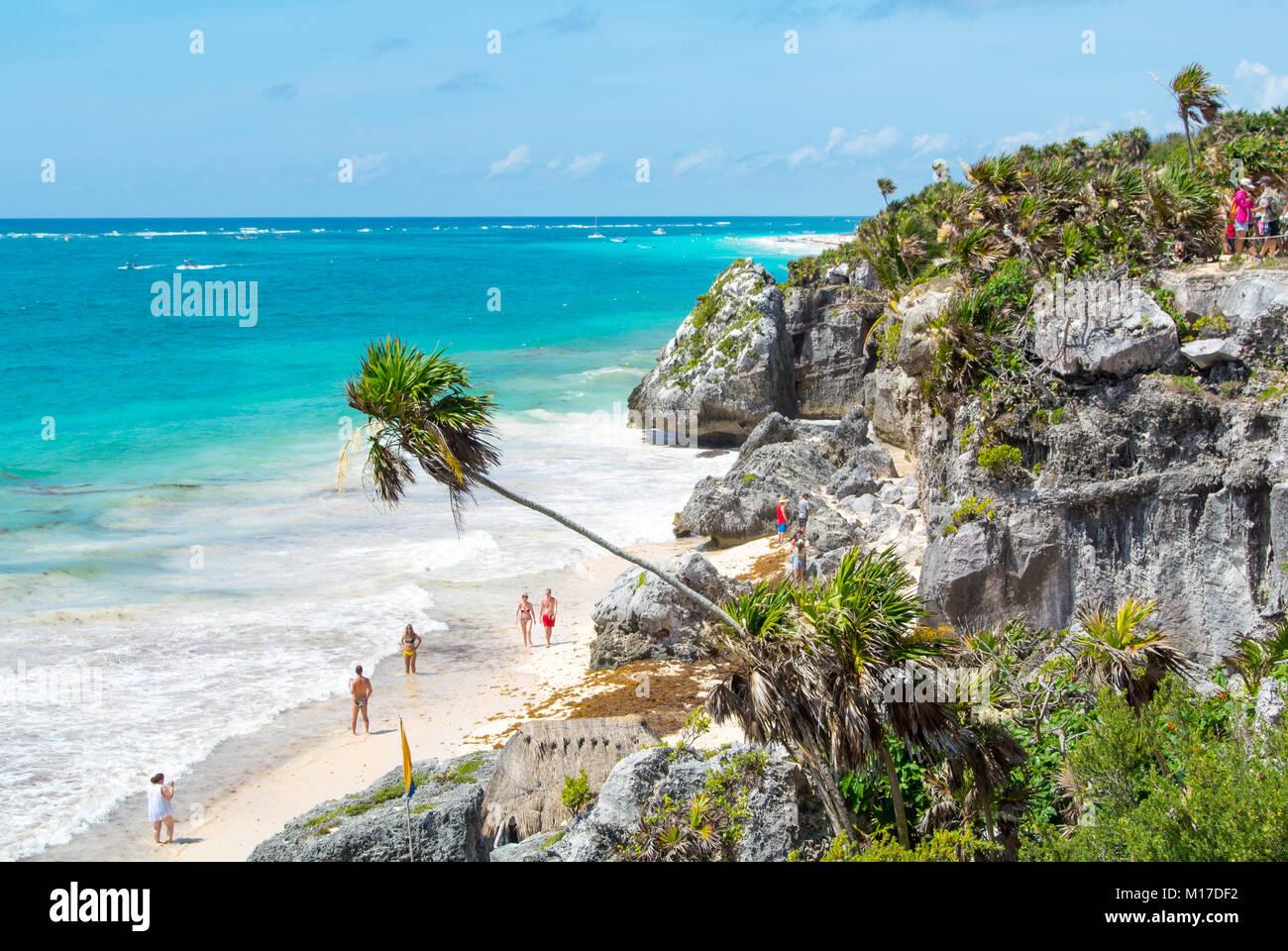 Tulum ruinas Yucatan Peninsula Mexico - Stock Image