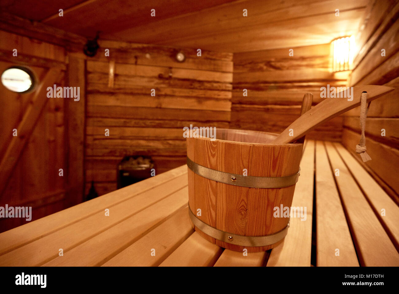 spa, relaxation and healthcare in finnish wooden sauna room - Stock Image