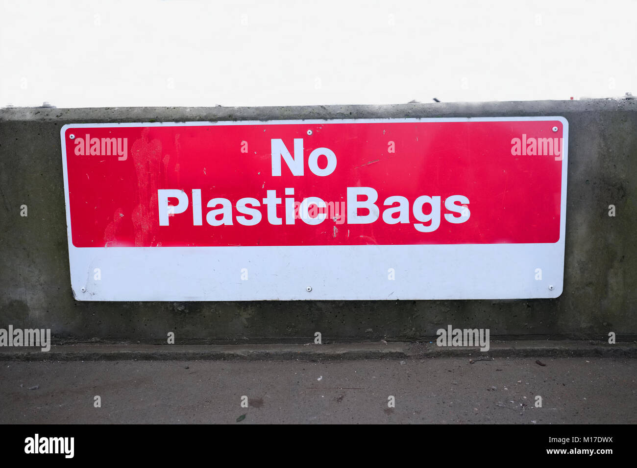 No plastic bags sign at chinese recycle plant China help to save the environment - Stock Image
