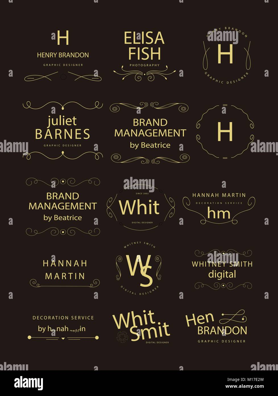 Retro Vintage Insignias or Logotypes set. Vector design elements, business signs, logos, identity, labels, badges - Stock Vector