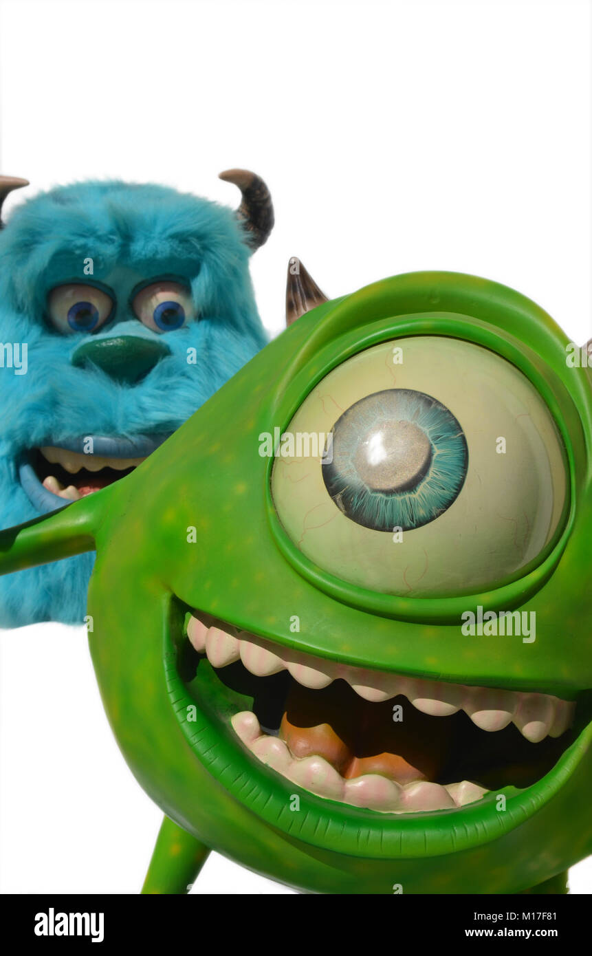 Portugal, Algarve, Circa  06.07.2013. Sudio image of Monsters inc. Mike and sulley. Stock Photo