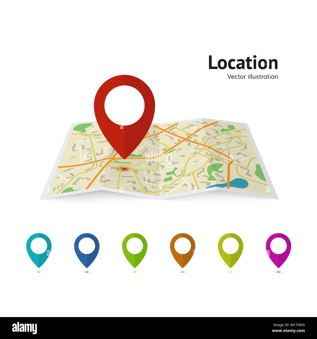 Set of marker pointer on map. map vector illustration. Modern plan pin pointer roadmap. GPS navigation systems. - Stock Image
