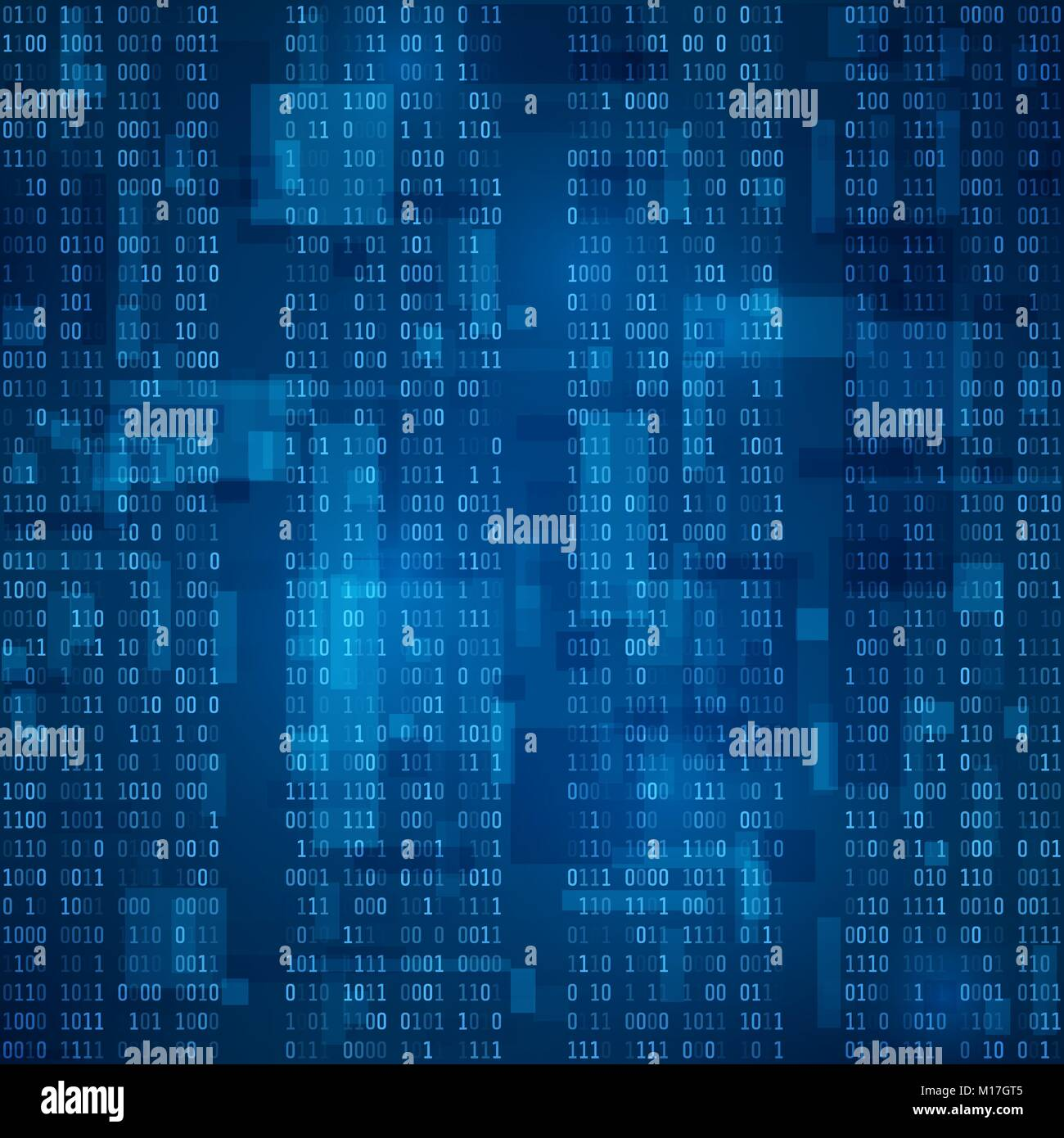 Cyberspace. Stream of blue binary code. Futuristic background. Visualization and processing of data in binary format. - Stock Image