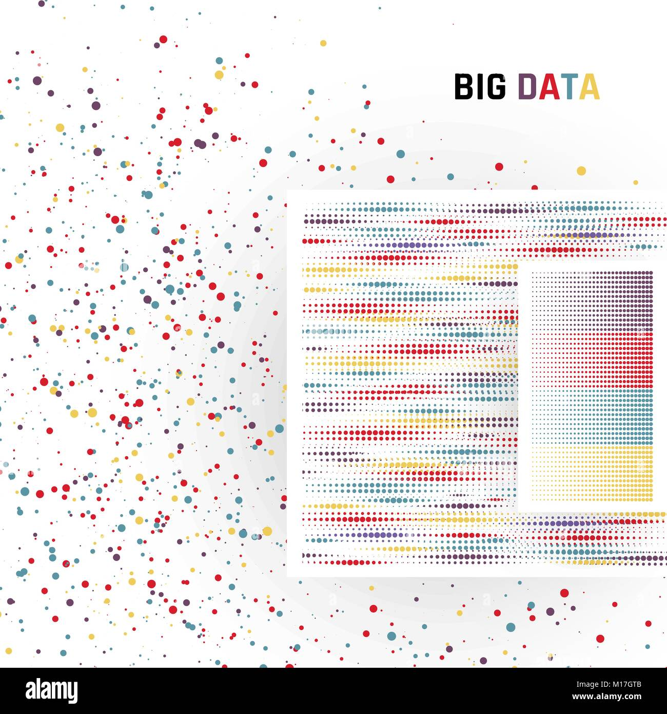 Big data. Processing of structured and unstructured data of huge volumes. Vector illustration - Stock Vector