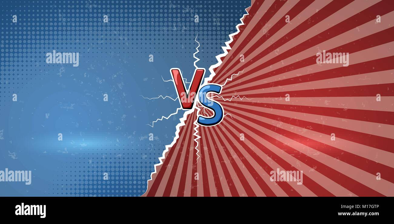 Banner with an explosive announcement of confrontation or battle. Creative letters VS us a symbol of versus on retro - Stock Vector