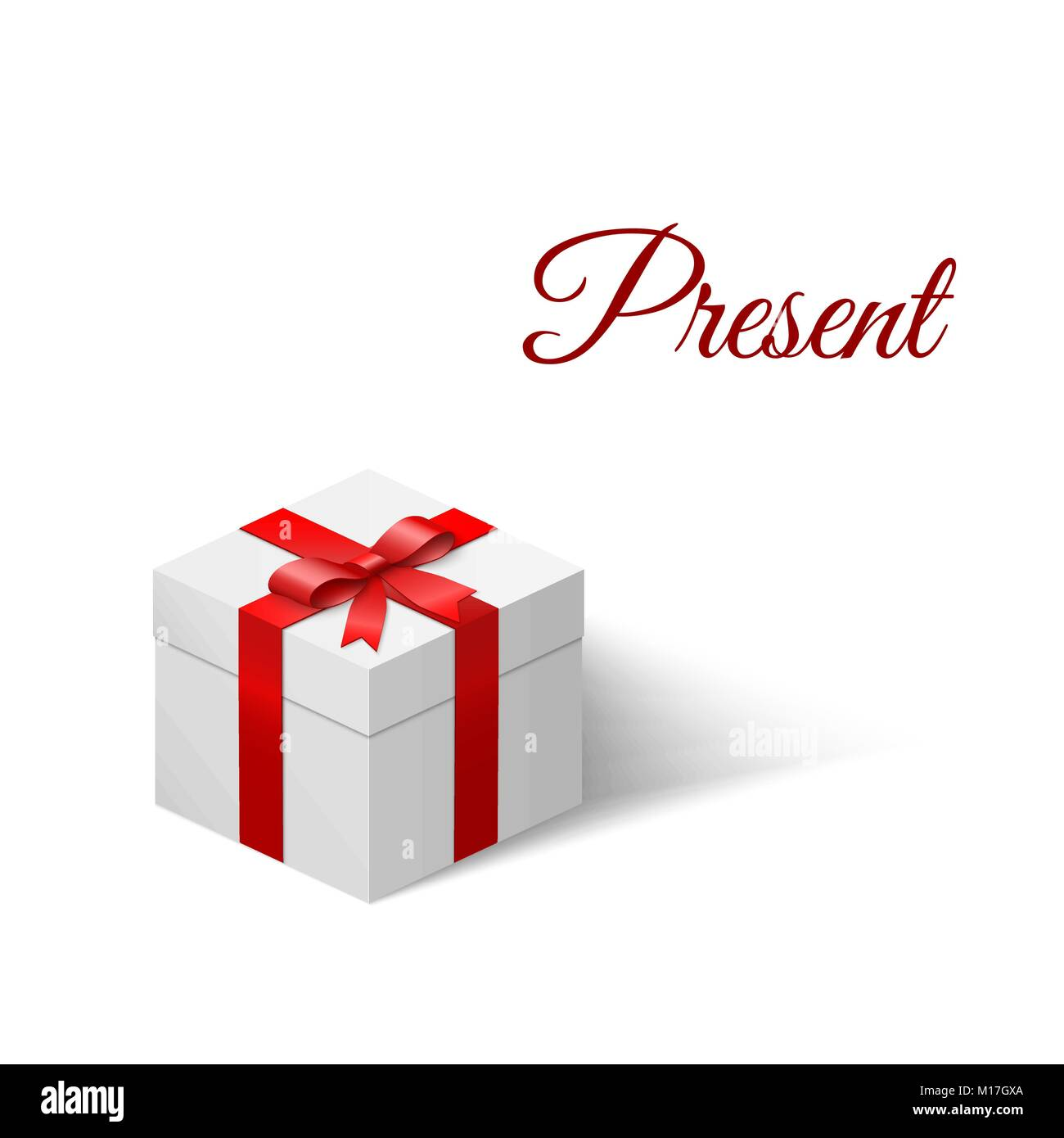 Present. White box with a bow tied with ribbon. Vector illustration - Stock Image