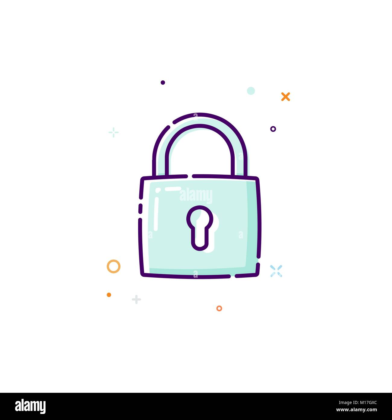 Padlock icon. Thin line flat design icon concept. Protection of personal information. Vector illustration - Stock Image