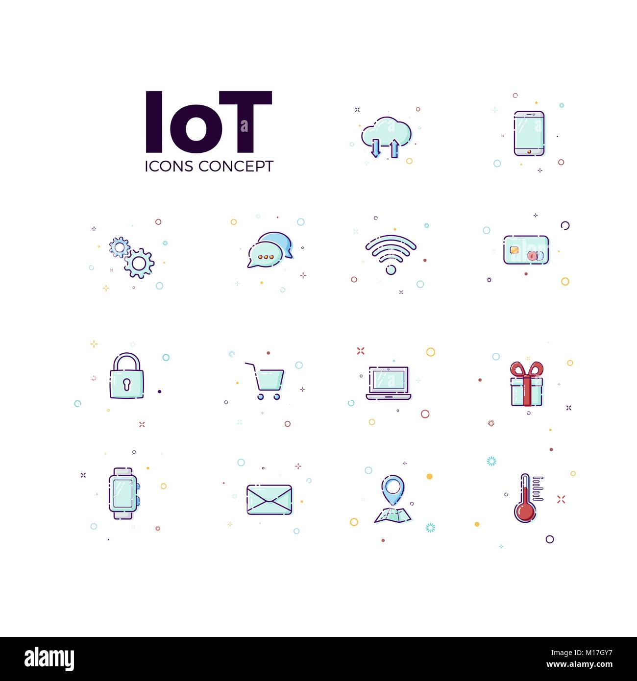 Concept Internet of things icons. Vector illustration icons of iot in white background - Stock Image