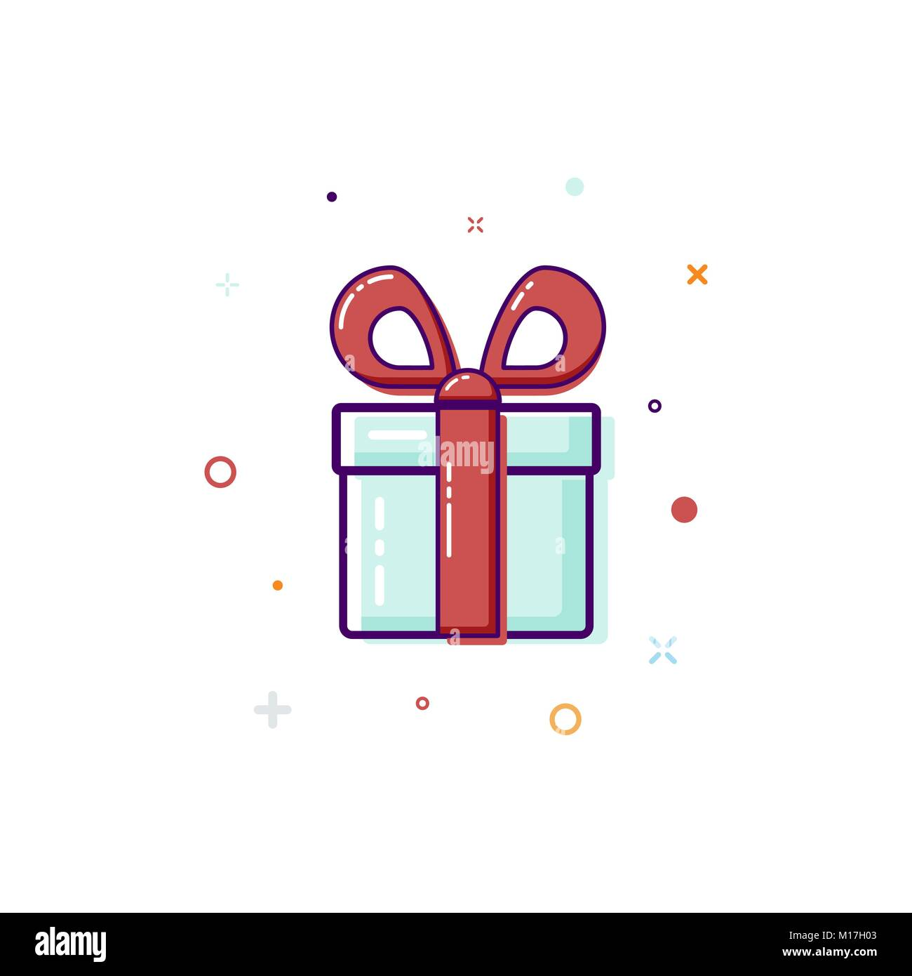 Gift box, surprise concept. Vector illustration isolated on white - Stock Image