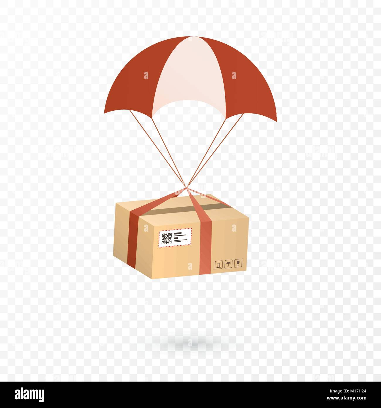 Delivery Services and E-Commerce. Package is flying on parachute. Flat vector illustration elements isolated on - Stock Vector