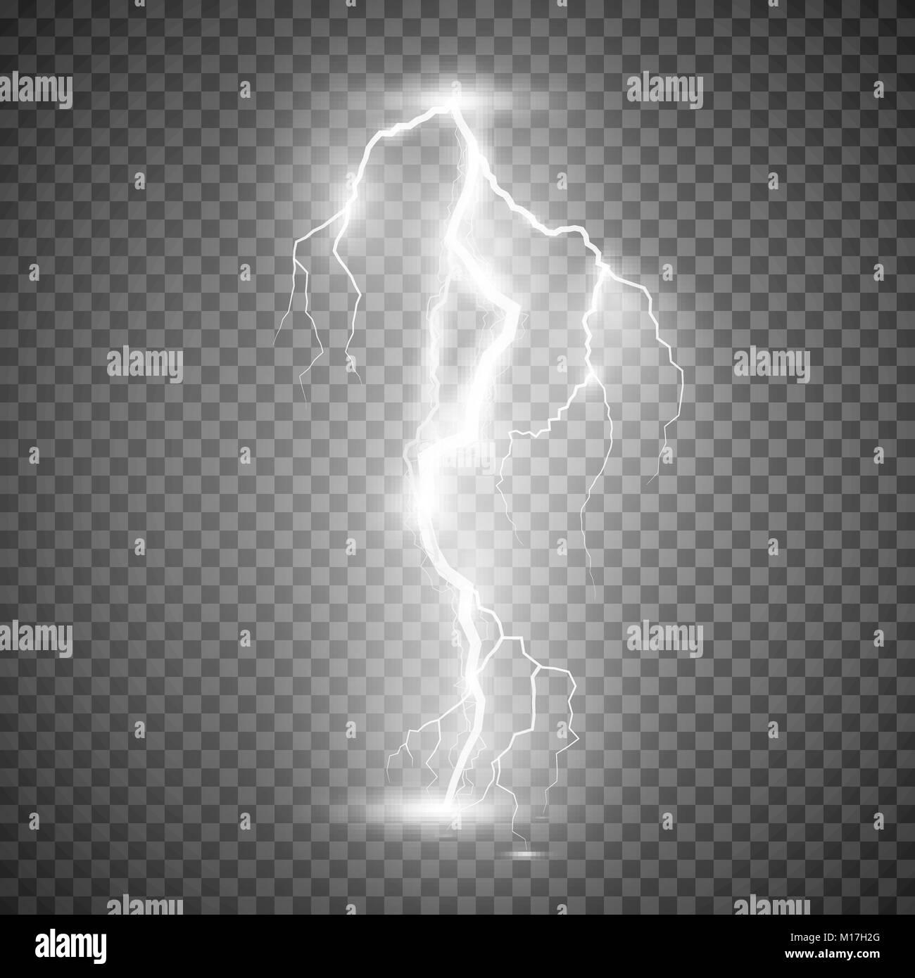 Storm Lightning Bolt Vector Illustration Isolated On Transparent Background