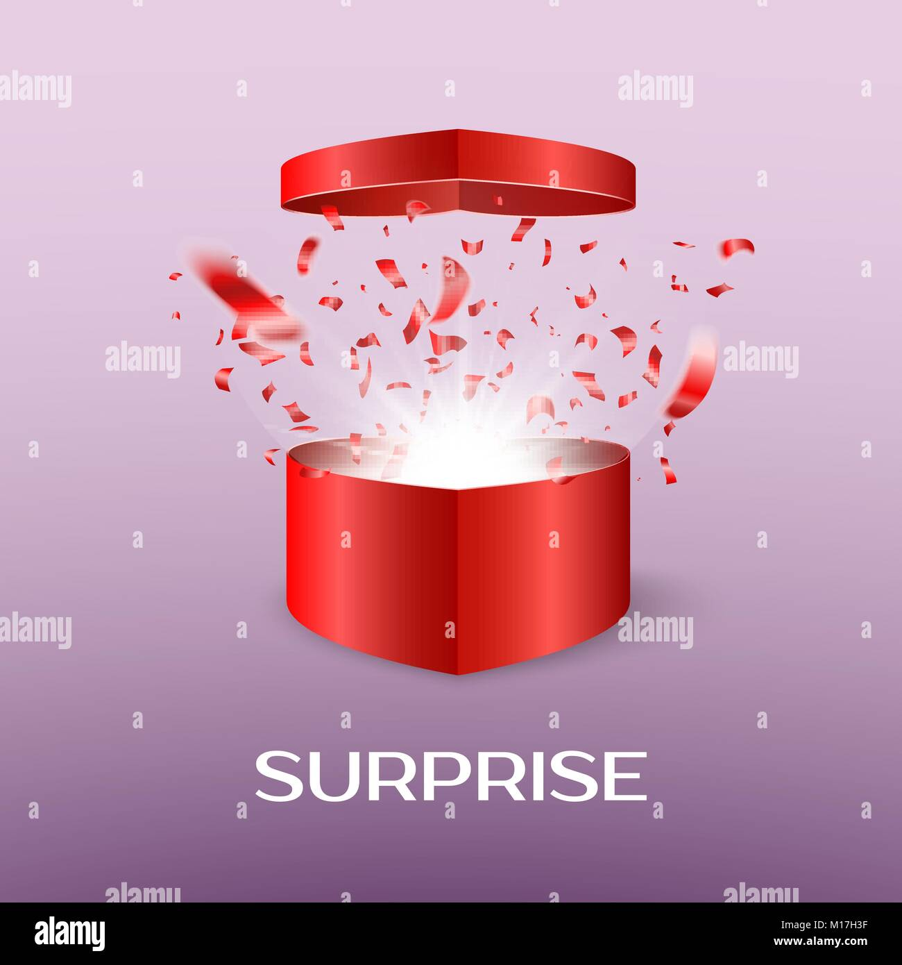 Open surprise box on Saint Valentine day. Gift box in the form of a heart open with a flying out confetti and flash. - Stock Image