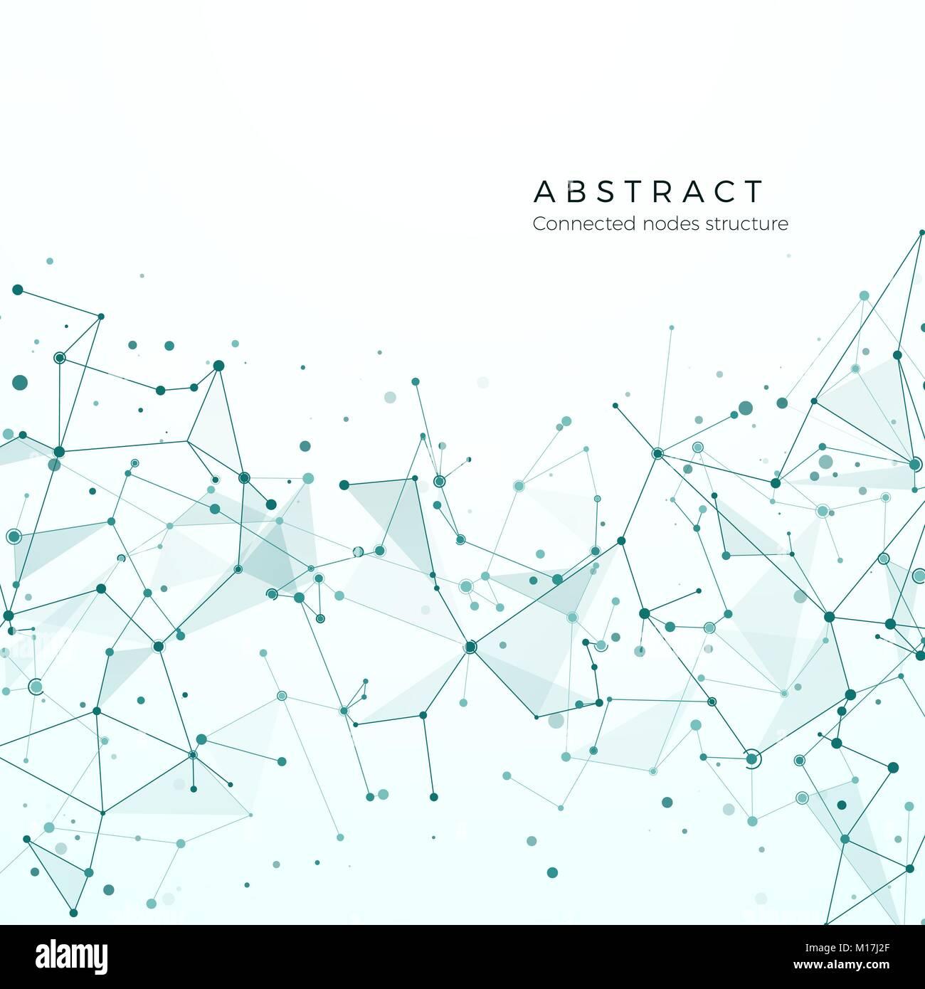 Data visualization concept. Graphic Node pattern. Complex intricacy network structure. Abstract futuristic plexus. Stock Vector