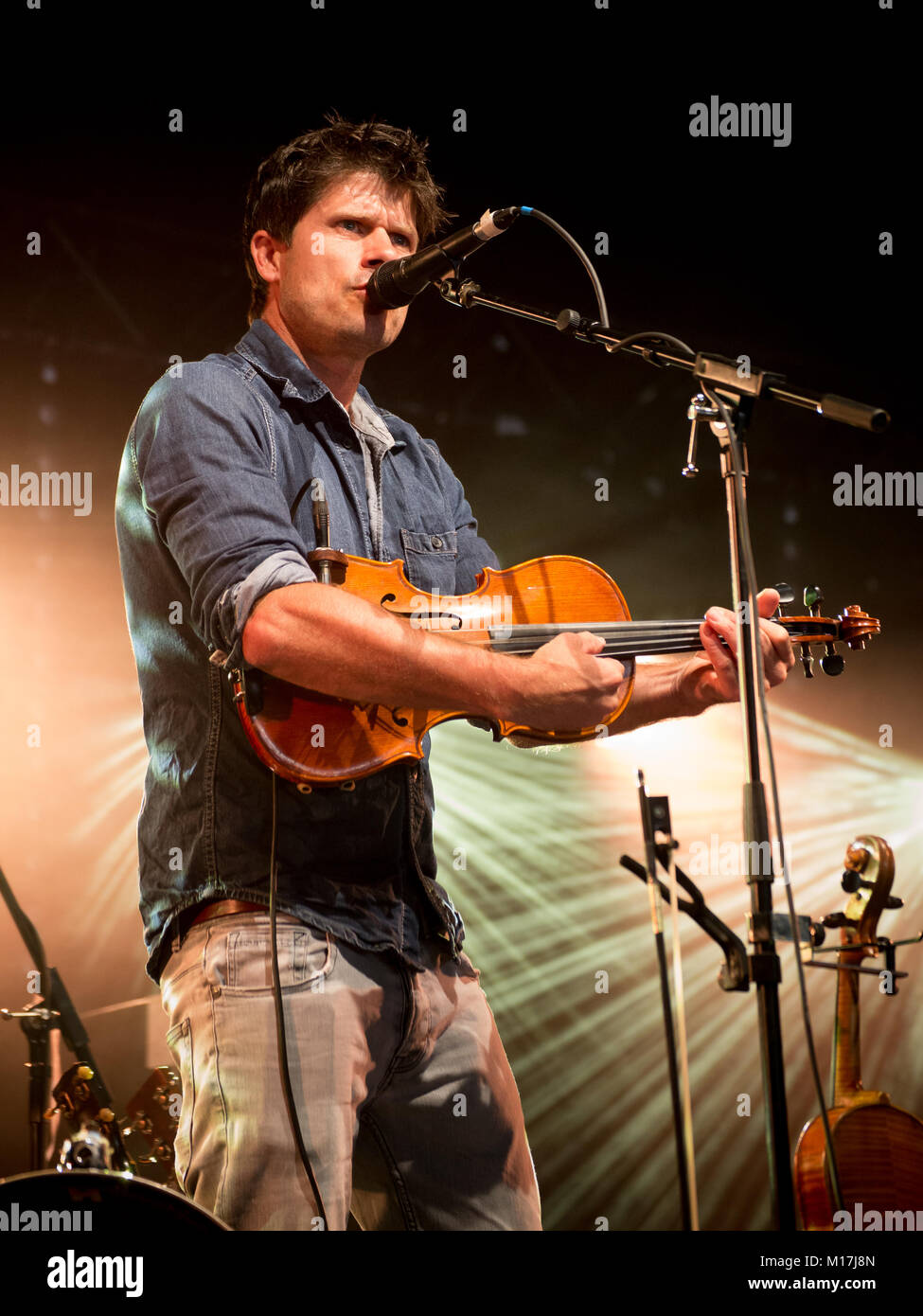 Multi-instrumentalist, folk singer and songwriter Seth Lakeman performs at the Moonbeams Festival 2017. - Stock Image