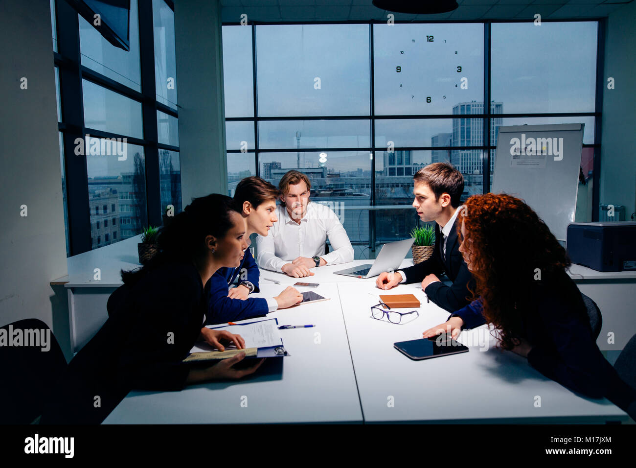 boss leader coaching in office. On job training. Business and Education concept - Stock Image