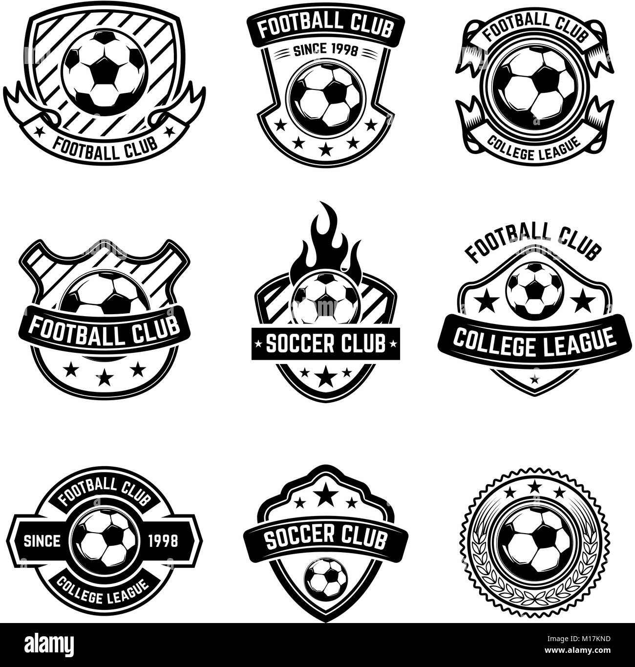 football club emblems on white background. soccer badges. design stock  vector image & art - alamy  alamy