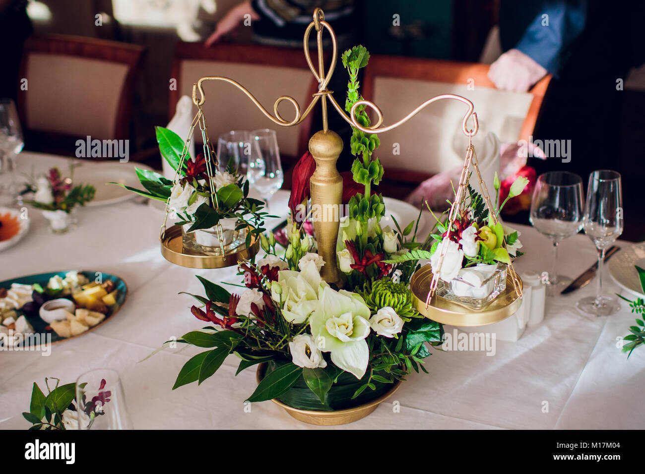 Wedding Reception Table Setting Aerial Top View Stock Photo ...
