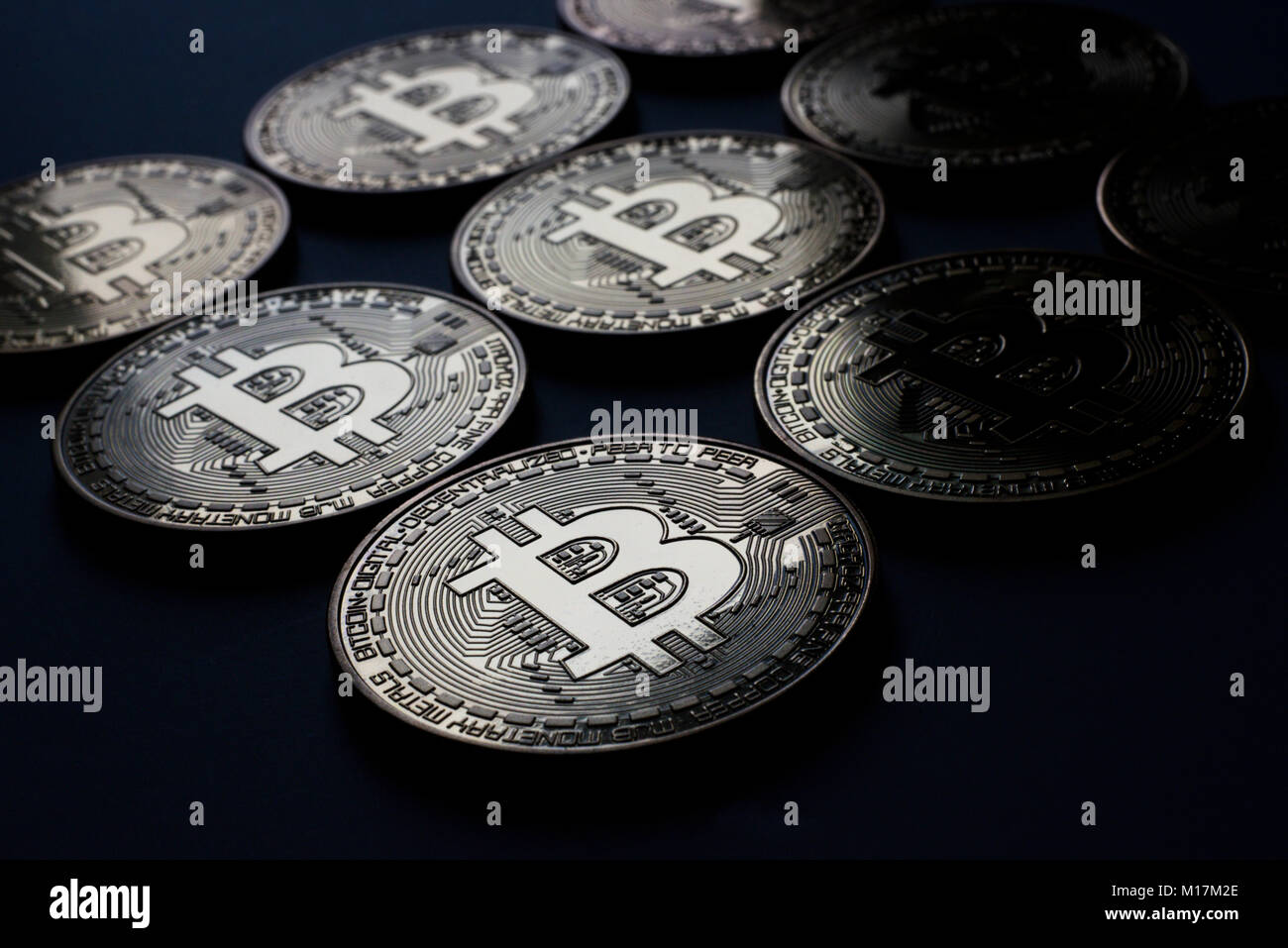 Minted Bitcoin Cryptocurrency Token Coin Multiple Coins Close Up View Stock Photo Alamy