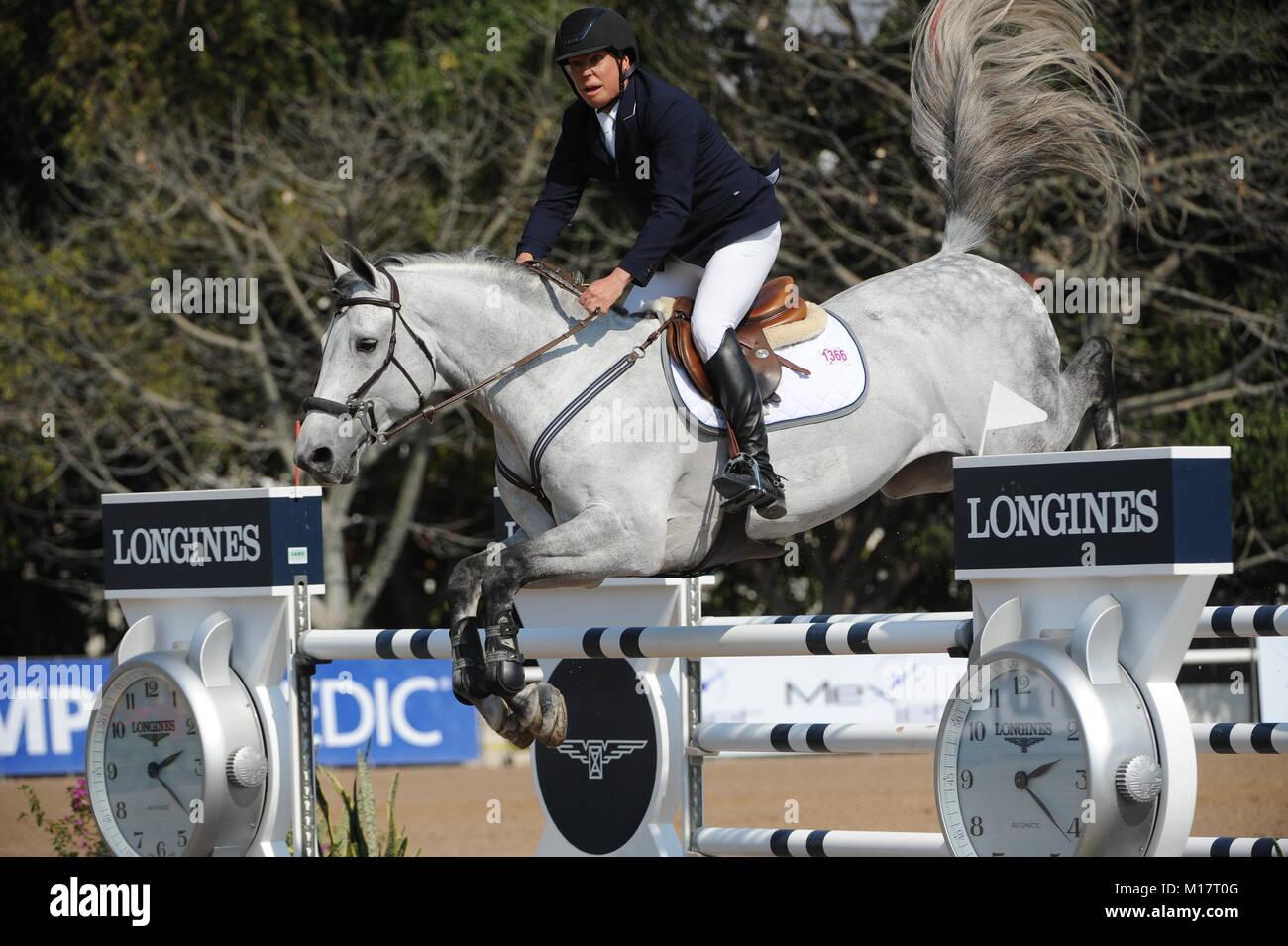 Guadalajara, Jalisco, Mexico. 27th January, 2018.CSI 4*, Longines World Cup, Federico Fernandez (MEX)  riding Pegasso. - Stock Image