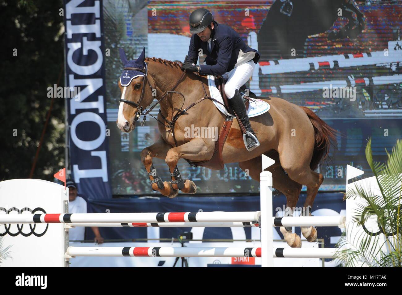 Guadalajara, Jalisco, Mexico. 27th January, 2018. CSI 4*, Longines World Cup, Mario Onate (MEX) riding Quartz de Stock Photo