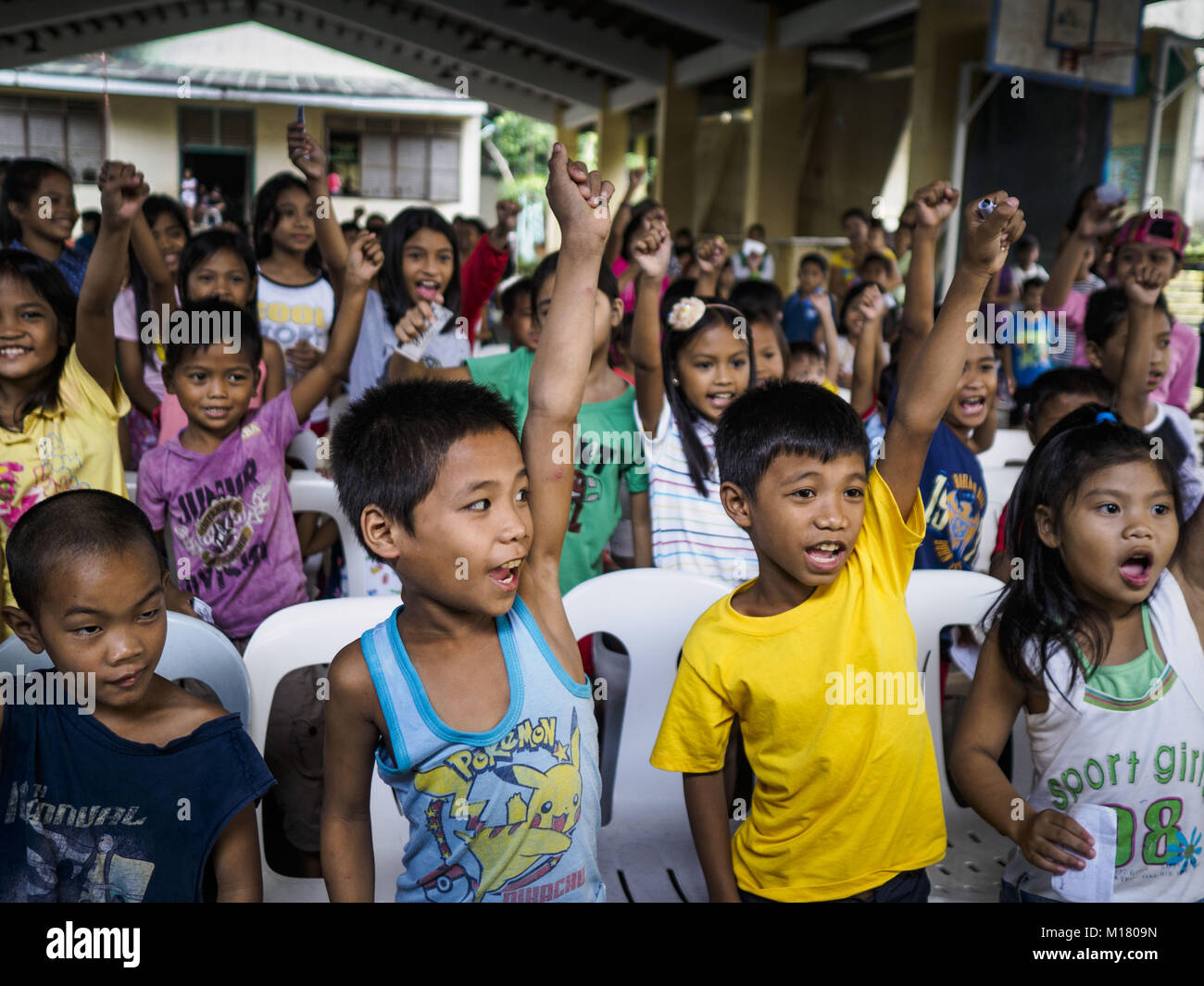 Legazpi, Albay, Philippines. 28th Jan, 2018. Children participate in an activity organized by Jollibee, a Filipino - Stock Image