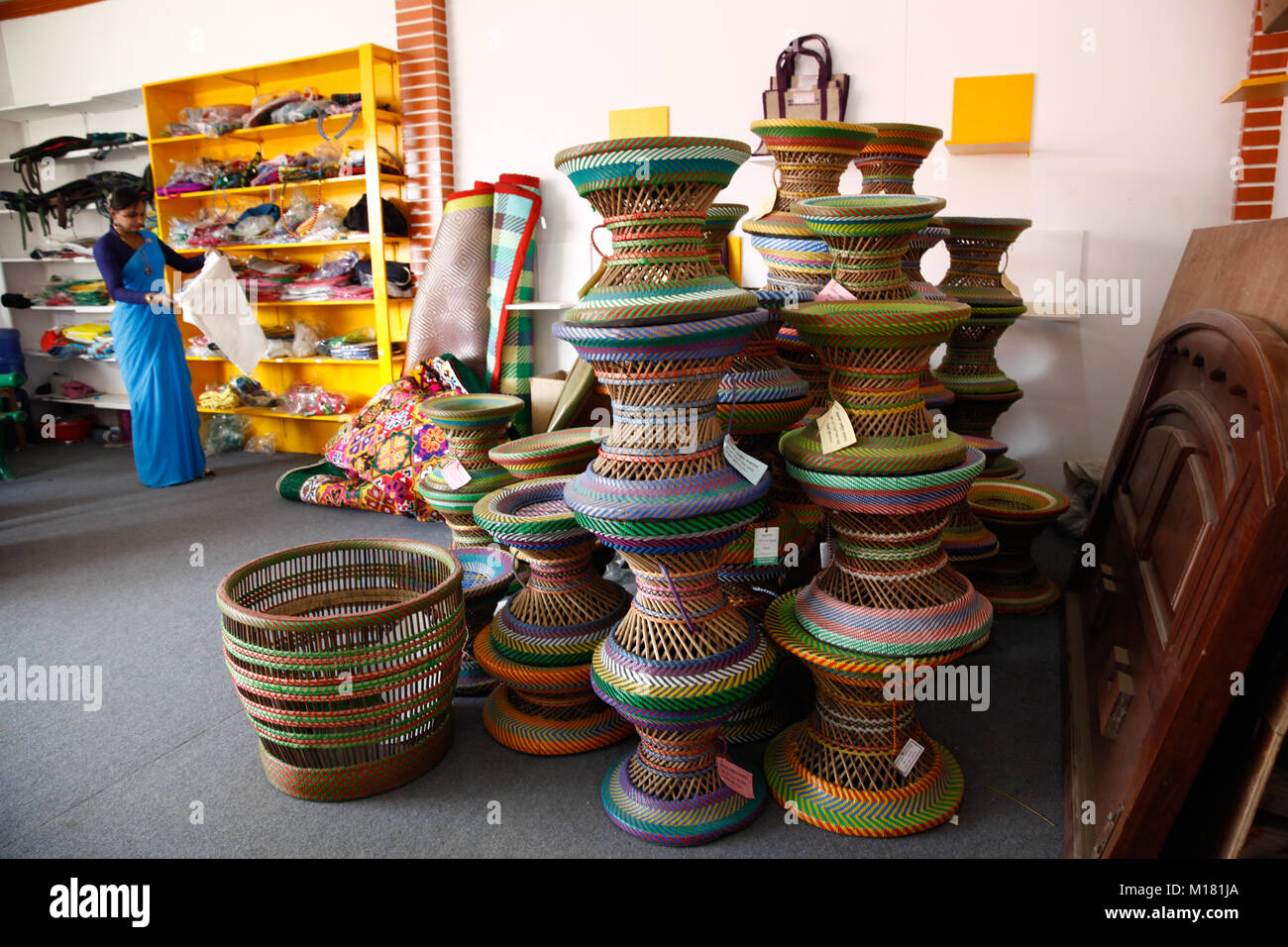 Decorative products display in a stall at Dhaka