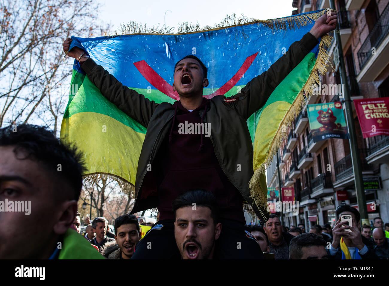Madrid, Spain  28th Jan, 2018  A man shouting holding an