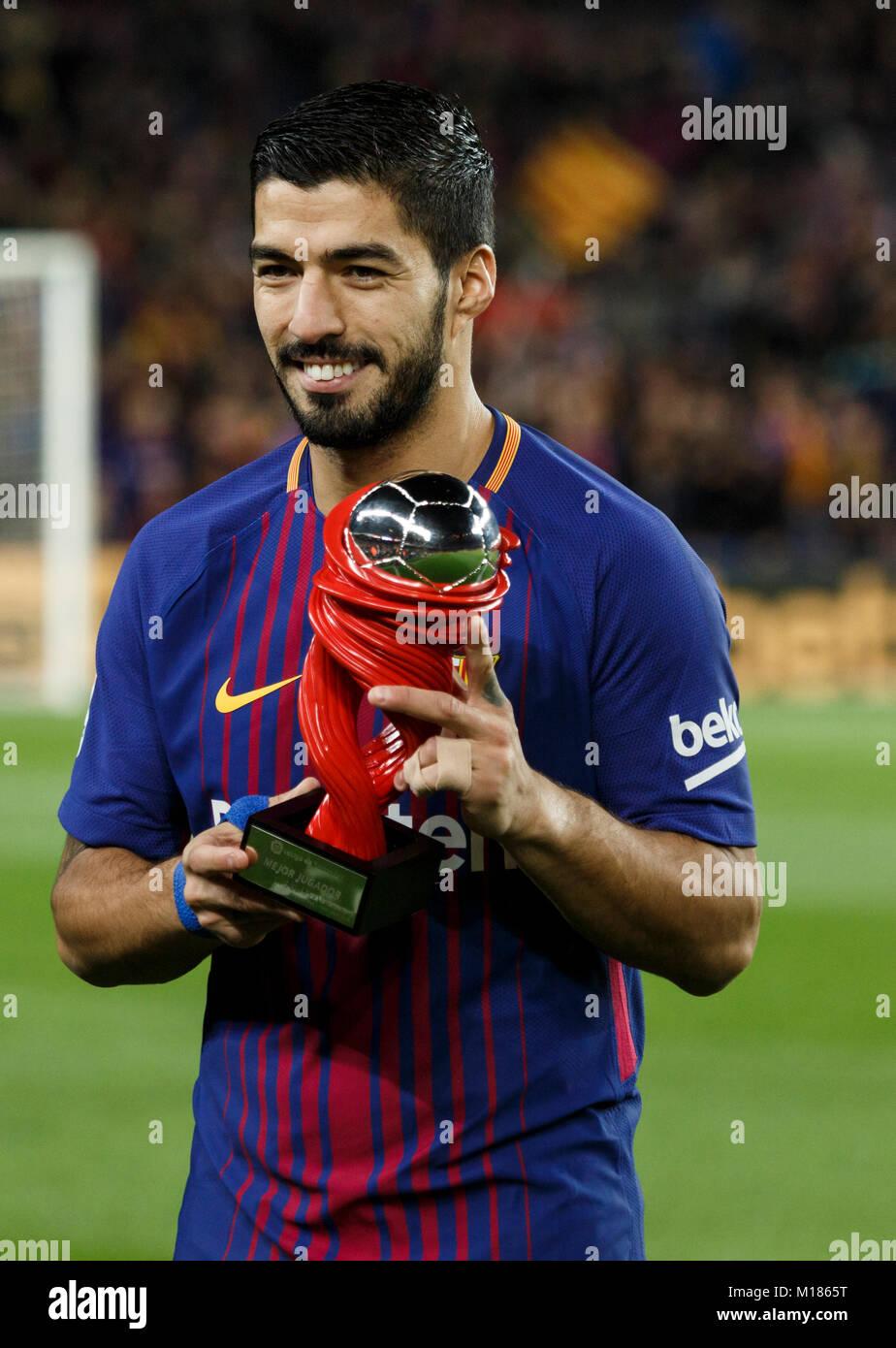Barcelona, Spain. 28th Jan, 2018. (09) Suárez best player of the month.  Credit: Joan Gosa Badia/Alamy Live - Stock Image
