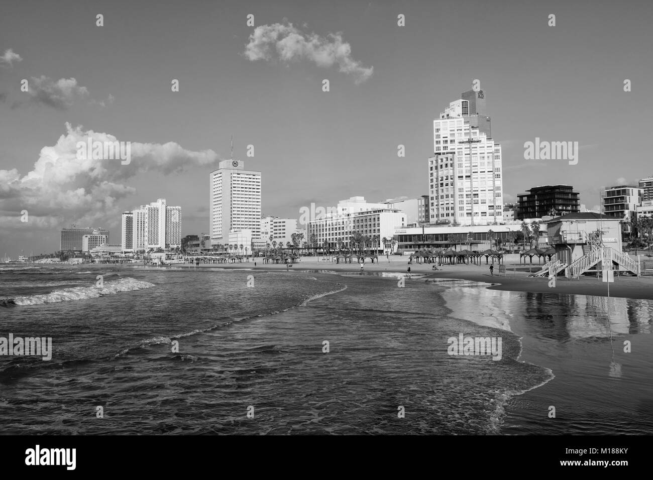TEL AVIV, ISRAEL - December 26, 2016: Tel-Aviv waterfront: beaches, high-rise buildings and hotels - Stock Image