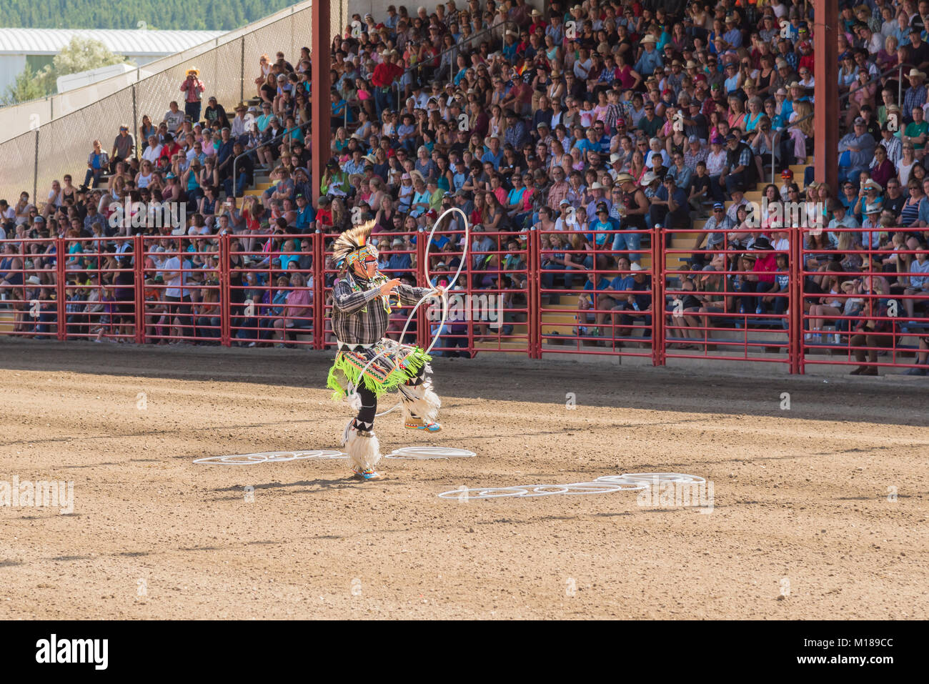 Three time world champion First Nations hoop dancer Alex Wells, performing at the internationally famous 90th Williams - Stock Image