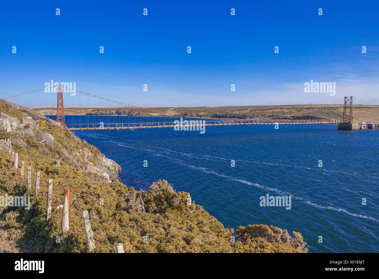 Bodie Creek Suspension Bridge, Goose Green, Falkland Islands - Stock Image