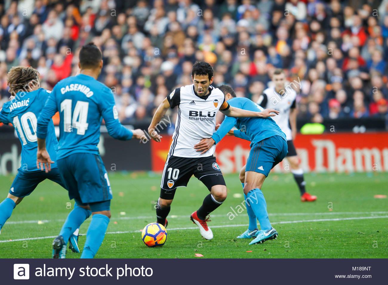 Valencia's Dani Parejo  during the La Liga Santander match between Valencia v Real Madrid at the Mestalla Stadium - Stock Image